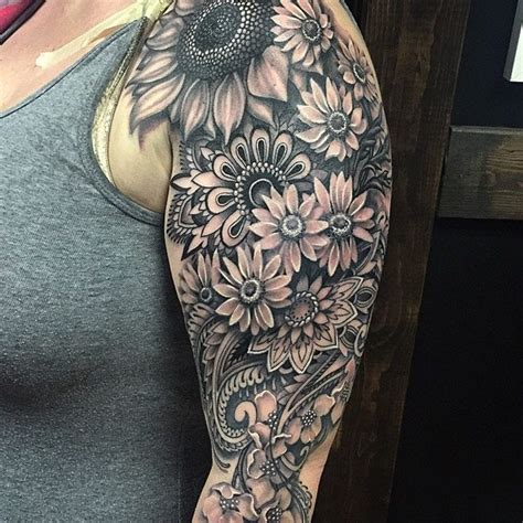 black and grey mandala tattoo 20 best flowers sleeve tattoo design images and pictures