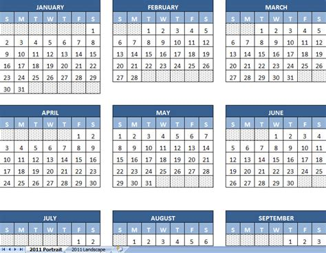 calendar template year excel calendar template 2011 yearly