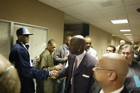 high lebron james meets michael jordan in hallway