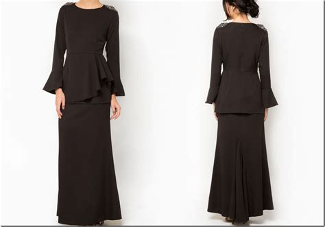 design baju evo all black for raya 2015 black peplum baju kurung design