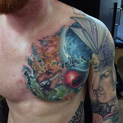 space themed tattoo big magnificent colored space themed on chest