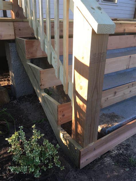 cover concrete steps  wood front porch