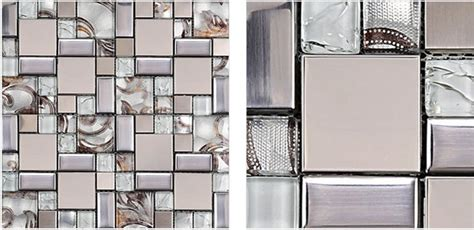 glass mosaic tile backsplash ssmt111 silver metal mosaic
