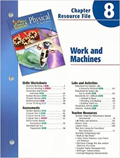 text book of the elements of machine work prepared for students in technical manual and trade schools and for the apprentice in the shop classic reprint books holt science technology physical science chapter 8