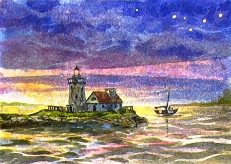 watercolor lighthouse tutorial nighttime lighthouse watercolorpainting com