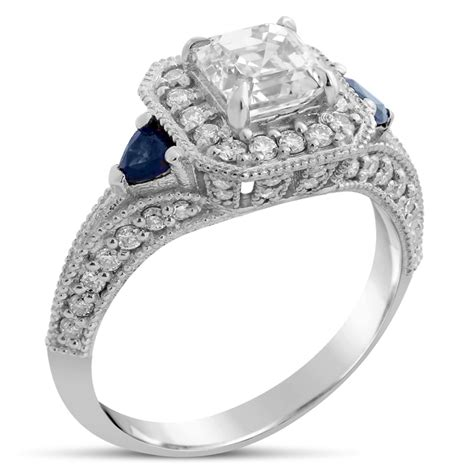asscher cut antique style engagement ring with