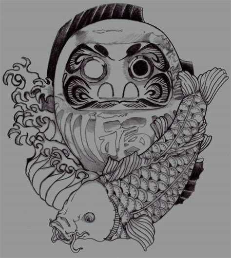 daruma doll tattoo designs daruma doll with koi fish design by gitoku
