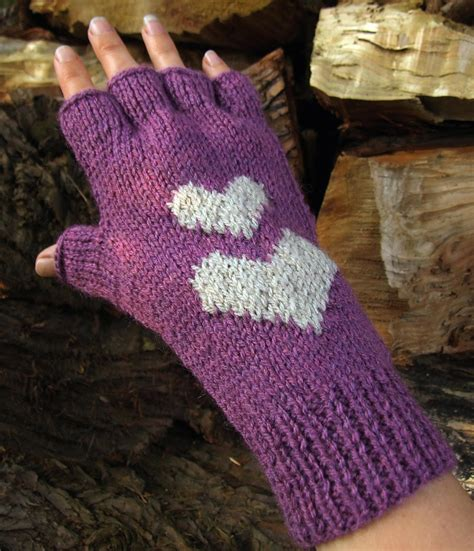 Hearts Fingerless Gloves Knitting Pattern Woolnhook By
