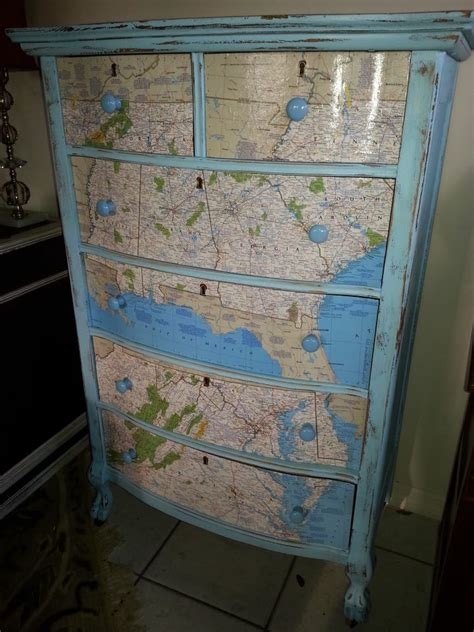 How To Modge Podge A Dresser by Map Dresser Modge Podge Travel Theme Diy Upcycle