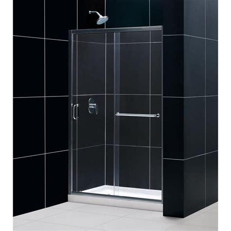 4 Foot Shower Door Dreamline Infinity Z 36 In X 48 In X 74 75 In Framed Sliding Shower Door In Chrome With