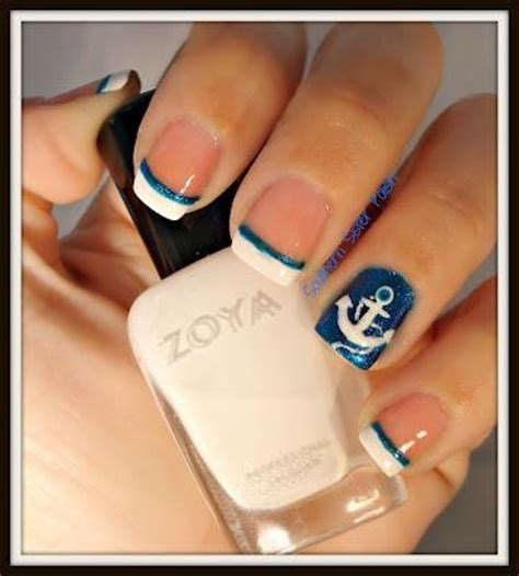 summer acrylic nail designs with anchor french acrylic nails acrylic nails and anchors on pinterest