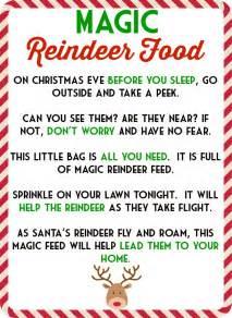 Printable Magic Reindeer Food Poem Template » Home Design 2017