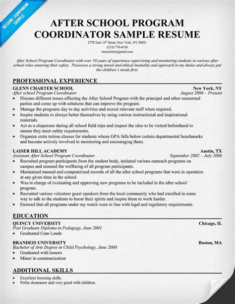 after school counselor resume after school program coordinator resume professional