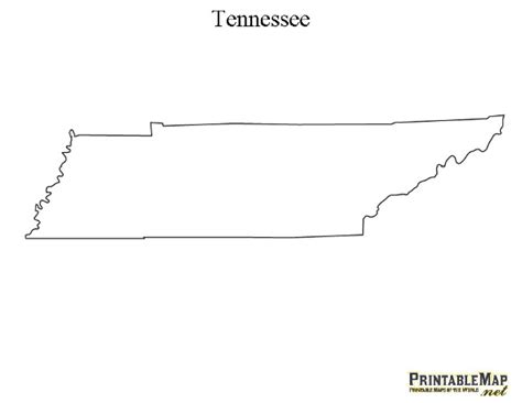 Tennessee Outline Map by Printable Map Of Tennessee State Map Of Tennessee
