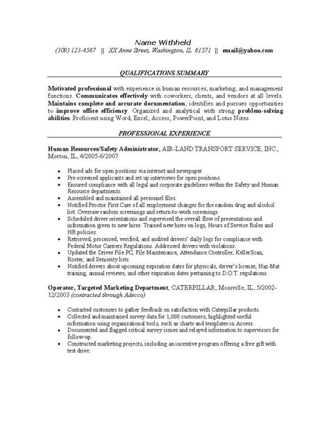 Service Letter Caterpillar Resume Exles For Safety Professionals Human Resources Resume Exle Sle Resumes For
