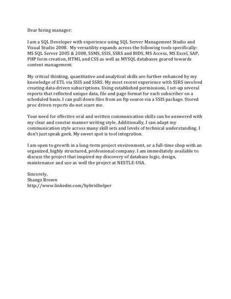 Cover Letter Dear Hiring Manager Cover Letter Only040511