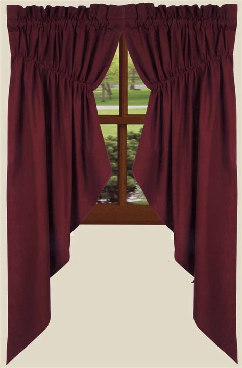 gathered swag curtains farm house solid prairie curtains in barn red
