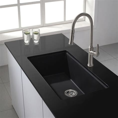 Black Granite Kitchen Sink by Kitchen Sinks Kgu 413b 31 1 2 Undermount Single Bowl