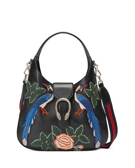 New Gucci Hobo Dionysus Medium Hardware Black Like Ori Leather G10208 gucci dionysus medium embroidered birds hobo bag black multi neiman