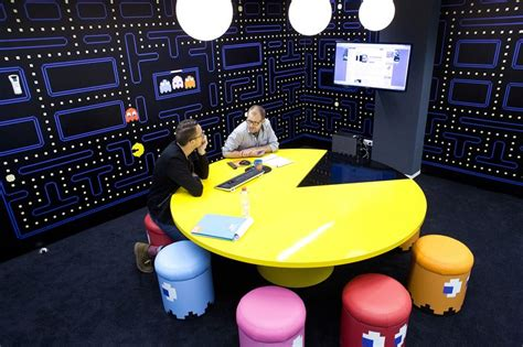 coolblue office pac man conference room pac man table