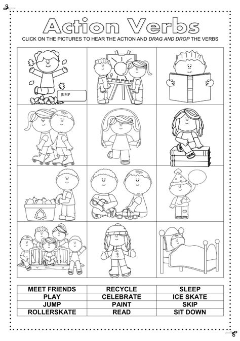 Verbs For Kindergarten Worksheets by Verbs Interactive And Downloadable Worksheet Check