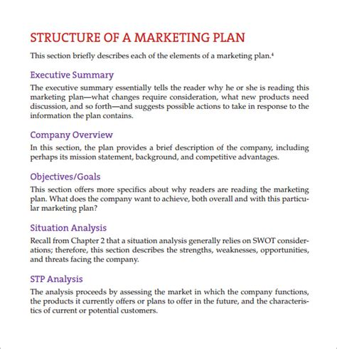 template for a marketing plan sle marketing report template 9 free documents