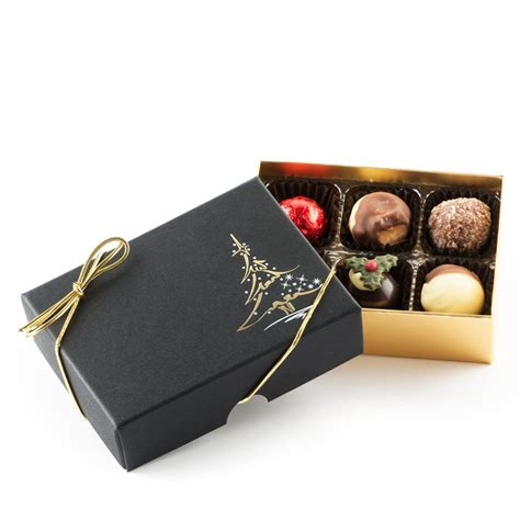 black christmas tree chocolate gift box 6 truffle