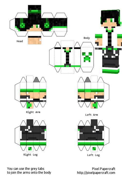 Minecraft Papercraft Boy - creeper boy white template by saria4 on deviantart