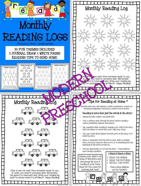 themed monthly reading logs modern preschool 80 best parent notes images on pinterest