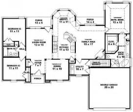 5 Bedroom 3 1 2 Bath Floor Plans by 654175 One Story 3 Bedroom 2 Bath French Traditional
