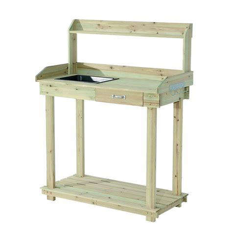 potting bench home depot sunjoy church wood 36 in x 49 in natural brown wood