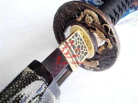 tiger katana clay tempered japanese katana tiger tsuba sword battle