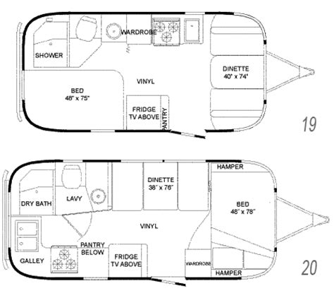 airstream floor plans airstream flying cloud travel floorplans 19 and 20