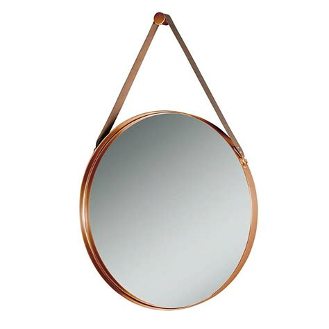 copper wall mirror uk copper and leather hanging wall mirror by i