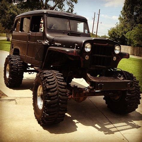 willys jeep lifted lifted willys wagon black red pin striping off road