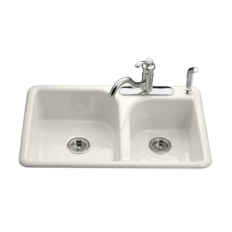abode kitchen sinks kohler efficiency drop in cast iron 33 in 3 hole double