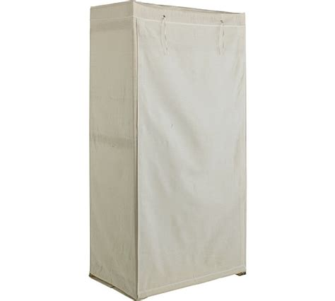 buy simple value polycotton and wood single wardrobe