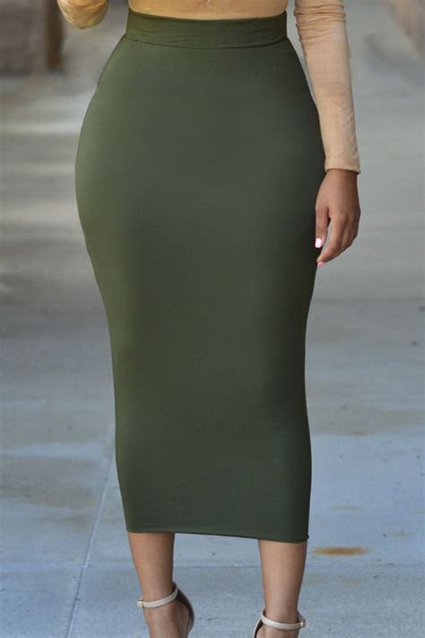 wholesale solid green high waisted bodycon maxi skirt