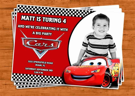 Cars Invitation Cards Templates by Cars Birthday Invitation U Print By Ptycards On Etsy