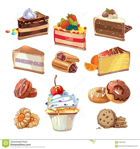 Pastry Kitchen Design by Vector Pastry Set In Cartoon Style Stock Vector Image
