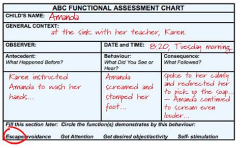 functional assessment observation form template abc functional assessment card connectability