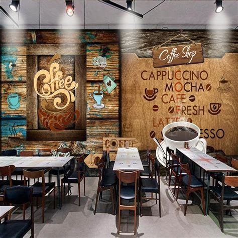 photo wallpaper retro wooden cafe background wall mural