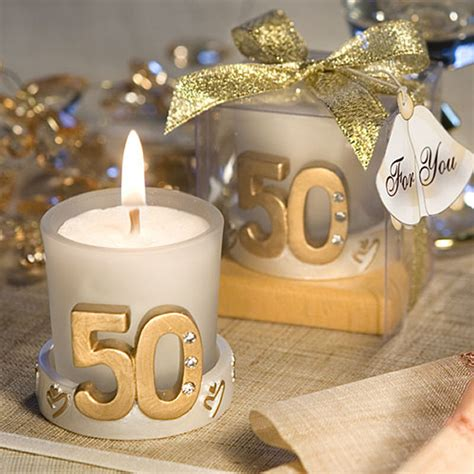 50th Wedding Anniversary Giveaways - gold candle 50th anniversary favors