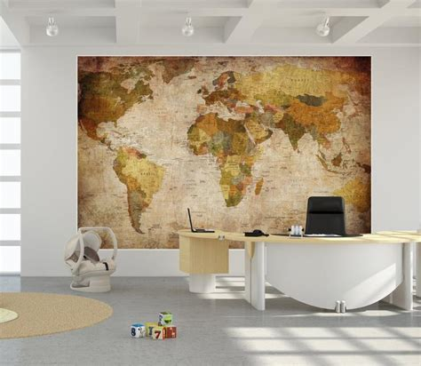 retro wall murals world map wall mural world map 07