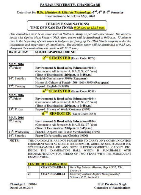 Ptu Syllabus Mba 2nd Semester 2016 by Date Sheet Puchd 2018 2019 Studychacha
