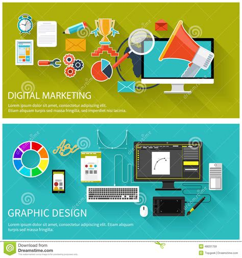 design concept graphic digital marketing concept graphic design stock vector