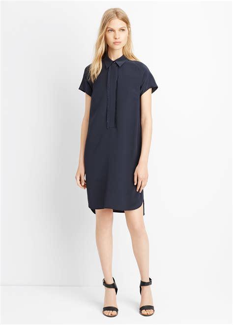 Sleeve Half Placket Shirt lyst vince half placket sleeve shirt dress in blue