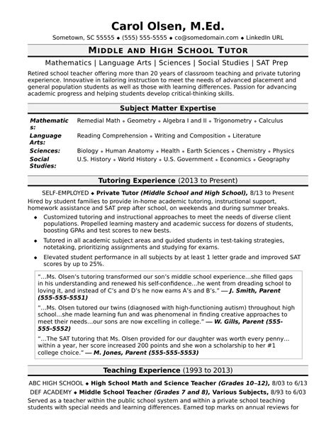 tutor resume template tutor resume sle