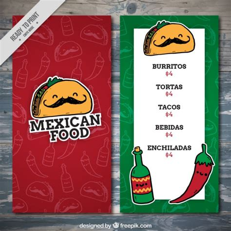 mexican food menu template vector free