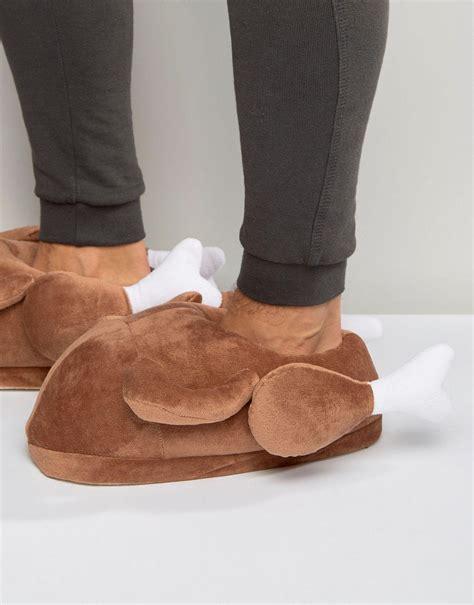 turkey slippers asos turkey novelty slippers in brown in brown